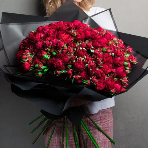Dazzling Red Spray Roses in Bouquet