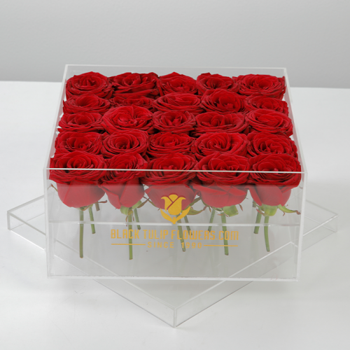 16 Red Roses In An Acrylic Box