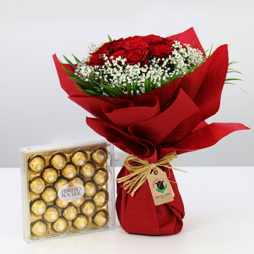 Bouquet of Red Roses with Chocolates