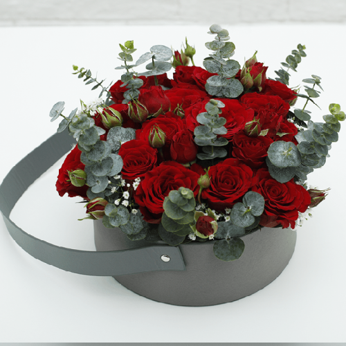 Red Rose in a Velvet Basket