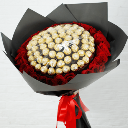 Ferrero Rocher Lover's with Red Roses